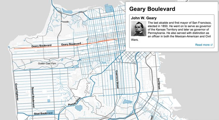 A new interactive map from Noah Veltman,aKnight-Mozilla OpenNews Fellowat the BBC, gives the history behind the names of San Franciscos streets and parks. If youre interested in San Francisco history in the slightest, this map is a goldmine.