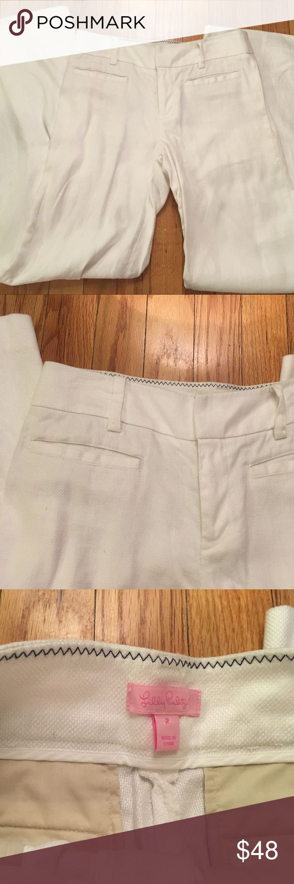 Lilly Pulitzer white linen trousers size 2 ❤️ Cute and practical! Lilly Pulitzer white linen trousers in size 2. Wide leg cut. Two functional front pockets and two functional pockets in the back. Waist measurement is just shy of 15 inches. Inseam approx. 31 inches. 73% linen, 27% cotton. Made in China. Machine wash cold. Excellent, gently preloved condition! Some very minor fading/signs of wear on the very bottoms of the legs (see last picture). These pants look great with a belt! The…