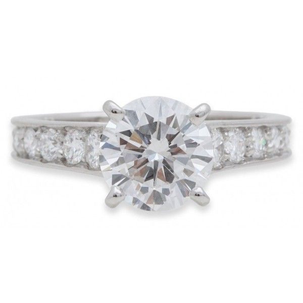 Pre-owned Cartier Platinum Diamond Engagement Ring ($36,400) ❤ liked on Polyvore featuring jewelry, rings, diamond jewellery, cartier jewellery, pre owned rings, platinum jewelry and preowned jewelry