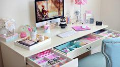 bureau pour une fille ado avec tiroirs et compartiment pour rangement
