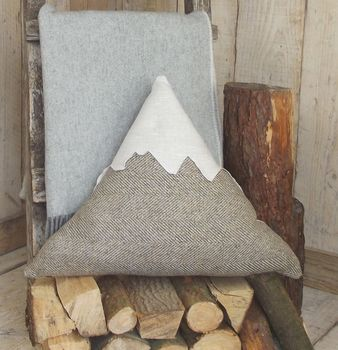 ' Mountain ' Tweed And Linen Cushion