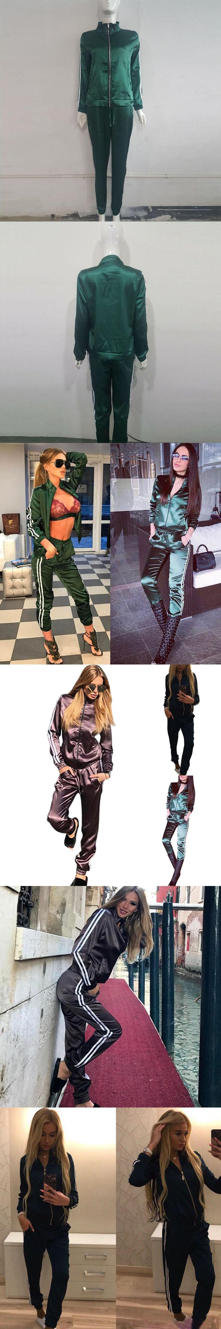 Fashion Spring Autumn Women 2 Pieces Suit With Pocket Sweatshirt Long Pants Zipped Tracksuit Lady Girl Casual Sportswear -MX8