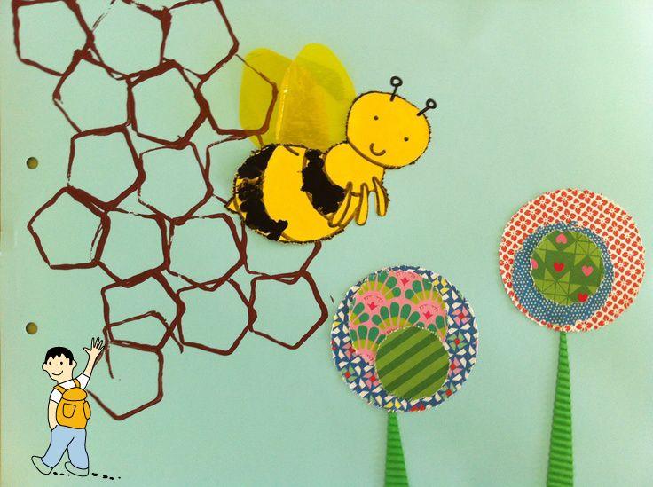 Tapa abeja. Dibujar colmena con abeja. Tapa álbum escolar infantil. Portada trabajos escolares.