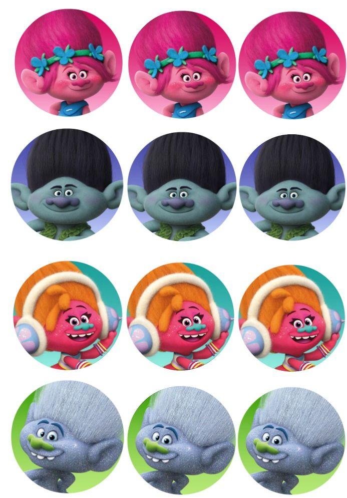 trolls movie cupcake toppers