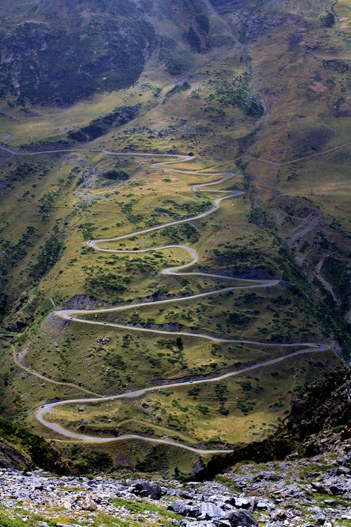 travelingcolors:Zig Zag Road, Central Pyrenees | France (by M'Barek) This is why road bikes exist