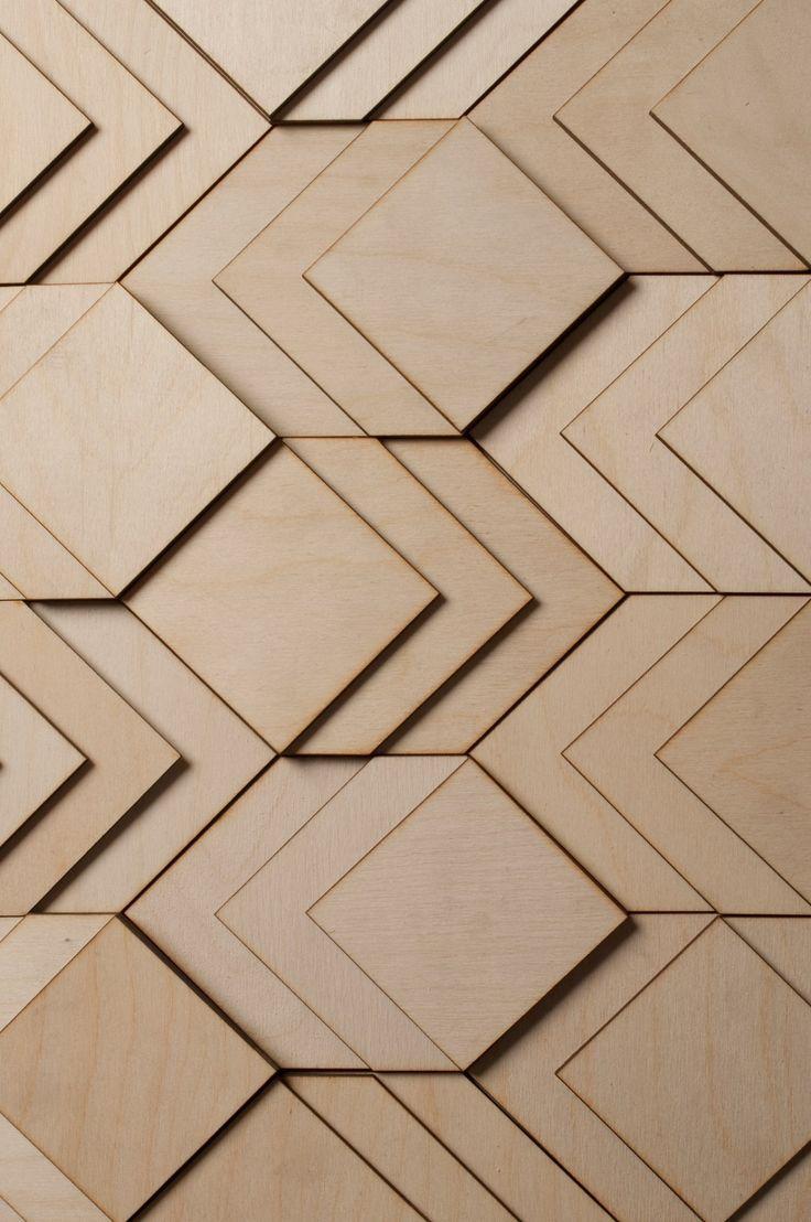 Holzverkleidung für Wände mit geometrischen Formen