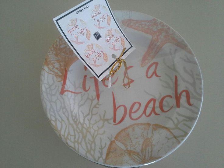 222 Fifth life's a beach appetizer or dessert plate china coastal nautical tan
