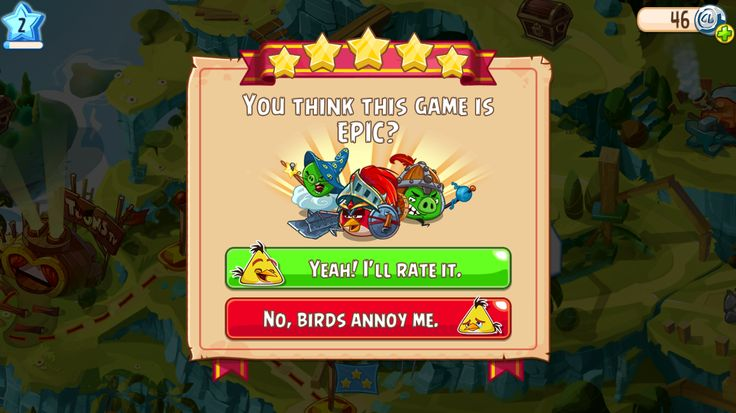 Angry Birds RPG: Rate this game modal pop up.