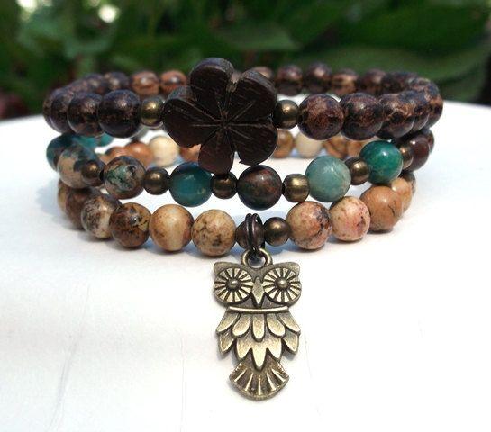 Owl Bracelet, Bohemian Bracelet, Hippie Bracelet, Gypsy Bracelet, Wisdom, Wood Bracelet, Boho Bracelet on Etsy, $34.95
