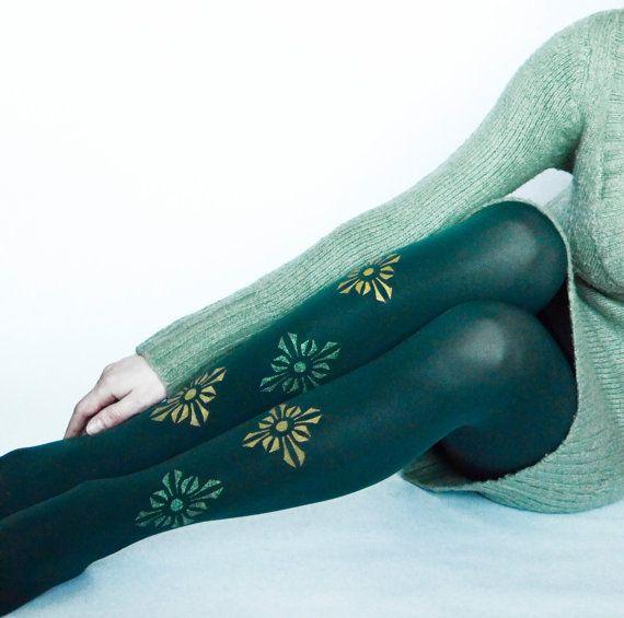 HANDPAINTED Full Length Tights ,Dark Green Pantyhose,Design Leggings,Fashion Pantyhose