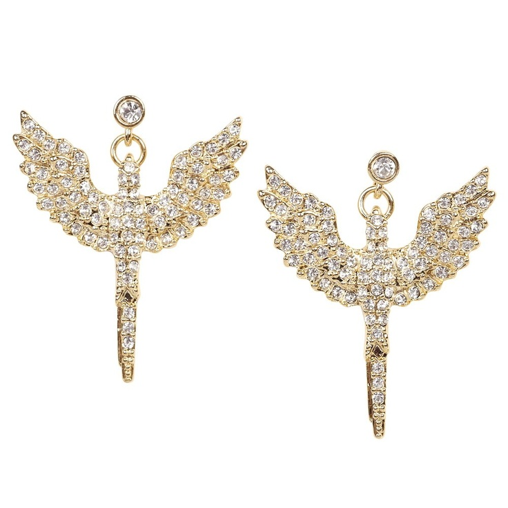 Talullah Tu - Gold Crystal Angel Wing Earrings