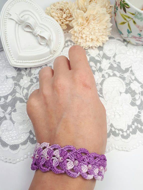 Purple crochet bracelet textile bracelet purple beaded