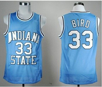 MOHEKANN Mens Indiana State Sycamores Larry Bird #33 Blue Basketball Jerseys Embroidery Logos New Materials With Double Stitchin