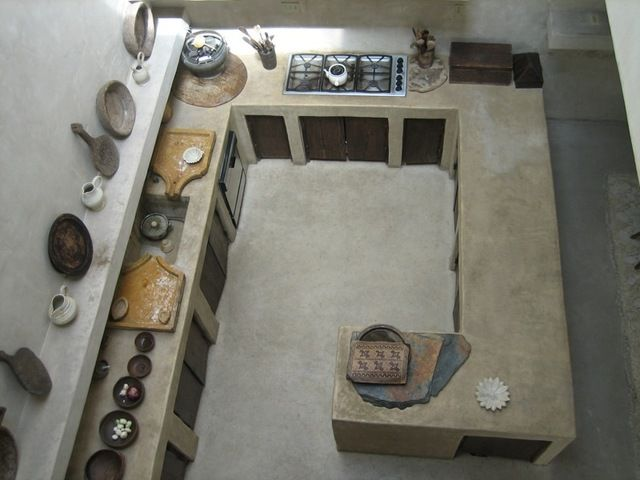 Moroccan style kitchen. I'd add a huge window on left