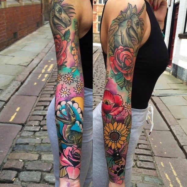 Viele bunte Blumen Tätowierung Arm