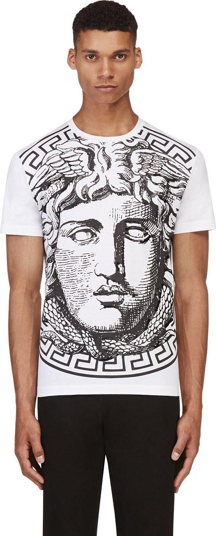Versace - White & Black Big Medusa T-shirt   SSENSE