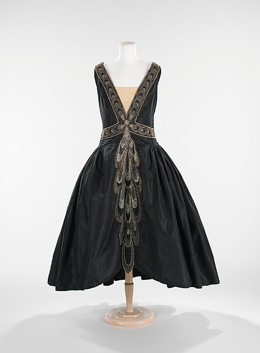Dress (Robe de Style)  House of Lanvin (French, founded 1889)  Designer: Jeanne Lanvin (French, 1867–1946)   Date: fall/winter 1926   Culture: French   Medium: silk, rhinestones, pearls Dimensions: Length at CB: 53 in. (134.6 cm: Jeanne Lanvin, Robe De, Dress, Metropolitan Museum, Dresses, Styles, 1920S, De Style