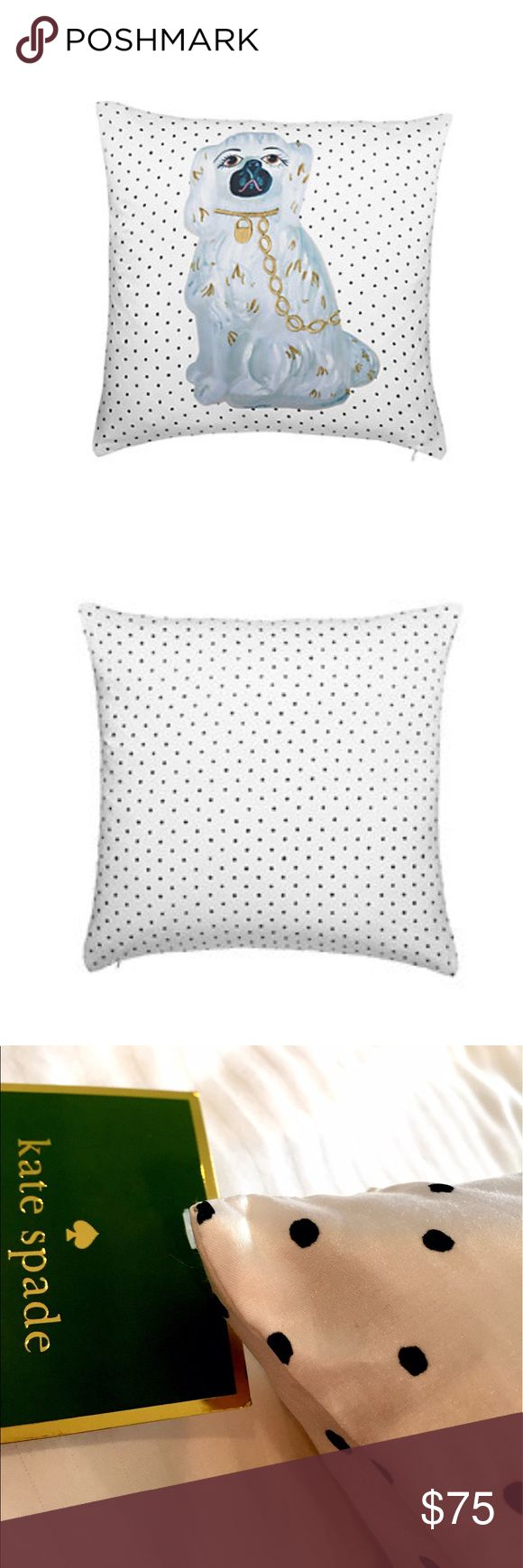 "New Kate Spade Floral Eyelet Staffordshire Pillow You may be willing to make an exception to your ""no dog on the bed"" rule for the little pup adorning this silk pillow! 51% Silk 49% Cotton.  Size 20""x20""  let me know if you'd like to bundle more than one (4 in stock) kate spade Accessories"