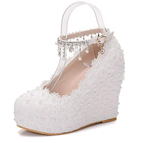 e00ed659bb Wedges Pumps Heels #White Lace Wedding Shoes #White Wedges High ...