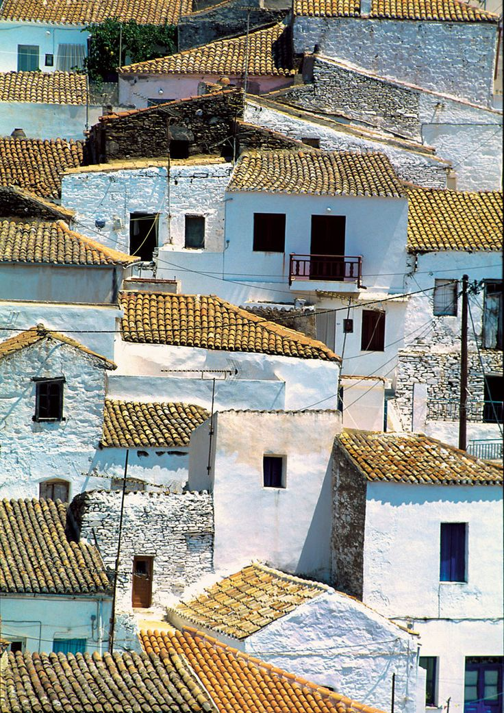 small village in Kythnos island photo into collage piece! corrugated cardboard for roofs, hand made paper for houses