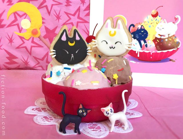 Moonie Sundae recipe for all you Sailor Moon fans who like to bake! #sailormoon #kawaii #cooking #baking #icecream #recipe #luna #shutupandtakemyyen