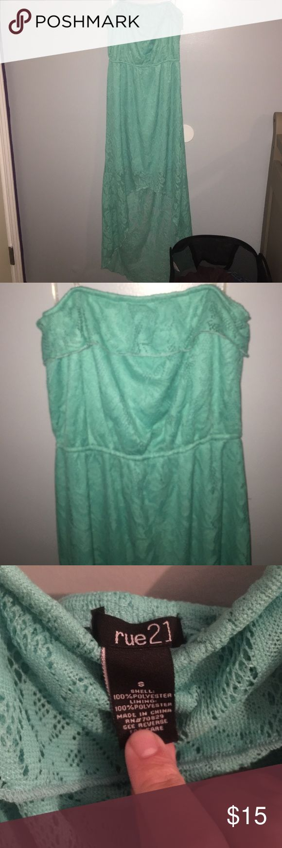 Rue 21 strapless hi-lo dress NEVER WORN!! Teal Strapples Hi-Lo dress from Rue 21. Size Small. 15 obo Rue 21 Dresses High Low