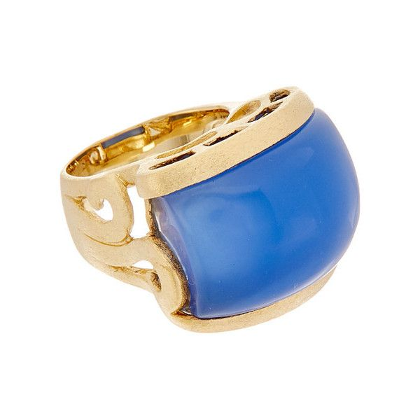 Rivka Friedman 18K Clad Chalcedony Crystal Ring (100 BRL) ❤ liked on Polyvore featuring jewelry, rings, jewelry & watches, nocolor, 18 karat gold ring, chalcedony ring, rivka friedman jewelry, crystal jewelry and blue chalcedony ring
