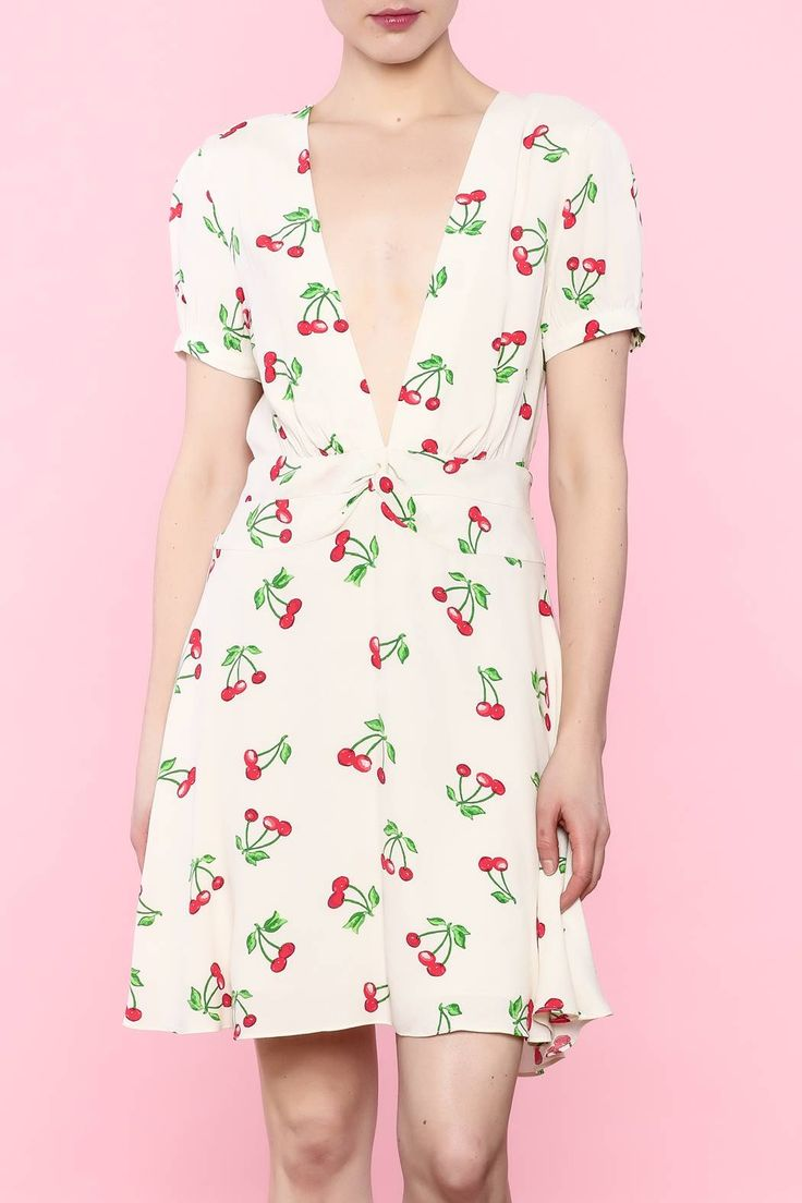 V-neck fit and flare dress with cherry print.   Wimar Cherries Dress by Privacy Please. Clothing - Dresses - Printed Clothing - Dresses - Short Sleeve Marina, San Francisco Dallas, Texas Austin, Texas