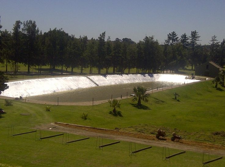 Torch-on Waterproofing was done to form a waterproof lining to seal this dam on Devonvale Golf Estate