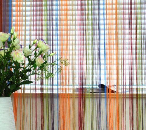 "Next Generation Voile - String Net Curtain Panel - Pencil Pleat and Slot Top Multicoloured ( red yellow blue ) 38"" x 90"" ( 97x228cm ) ( privacy screen Just Contempo http://www.amazon.co.uk/dp/B00MPGEEJK/ref=cm_sw_r_pi_dp_5gp7ub03HBFMP"