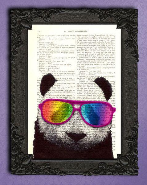 Panda mit Regenbogen Gläser, Panda bilder von Madame Memento auf DaWanda.com