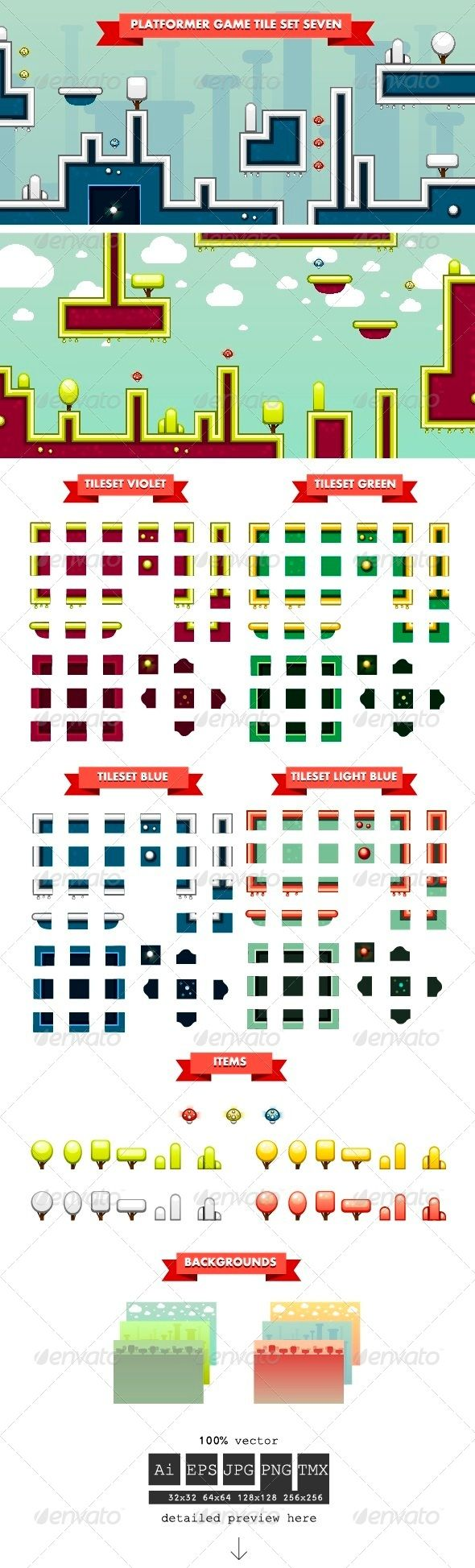 Platformer Game Tile Set Seven