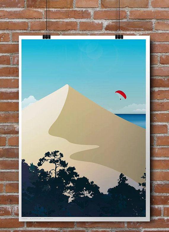 Affiche Illustree De La Dune Du Pilat Wall Art Prints Ocean Art