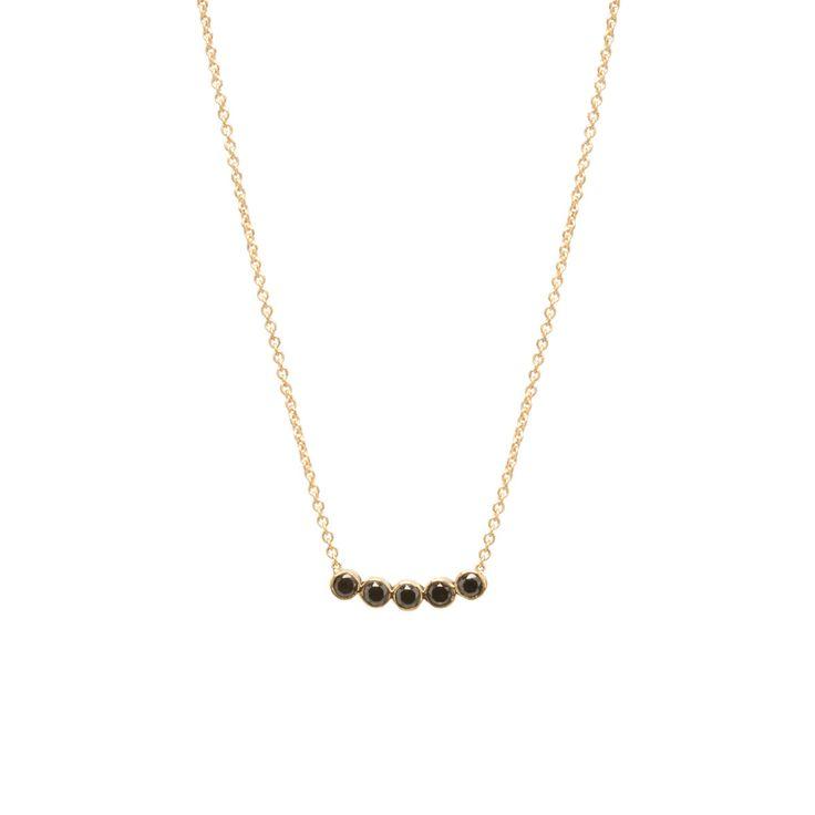14k five black diamond necklace