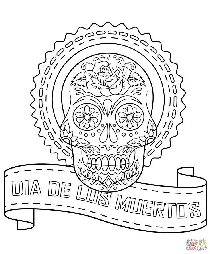 Meer dan 1000 afbeeldingen over day of the dead skull en for Dia de los muertos skull coloring page