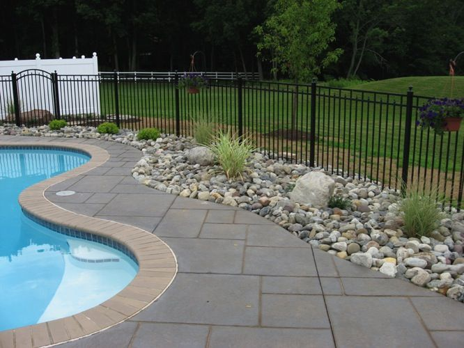 1000 ideas about fence around pool on pinterest for Pool landscaping