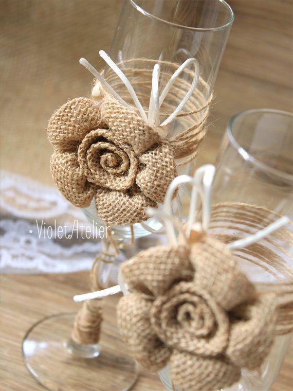 Large Burlap Flower Toasting Glasses, Rustic Wedding Flutes, Burlap Champagne Toasting Set
