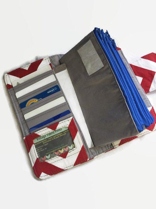 Womens Wallet – Dave Ramsey Money System – Money Envelopes – Envelope Wallet – Credit Card Holder – Multi Card Organizer – Chevron
