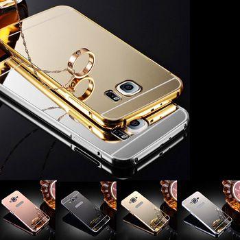 Luxury Aluminum Metal Mirror Case For Samsung Galaxy S6 S6 edge S7 S7 Edge G530 J1 J5 J7 2016 Acrylic Hybrid Gold Frame Cover
