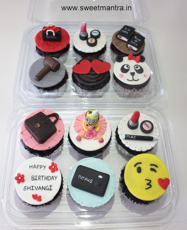 Makeup, Shopping, Law, Love theme customized designer cupcakes for girlfriend's birthday at Pune