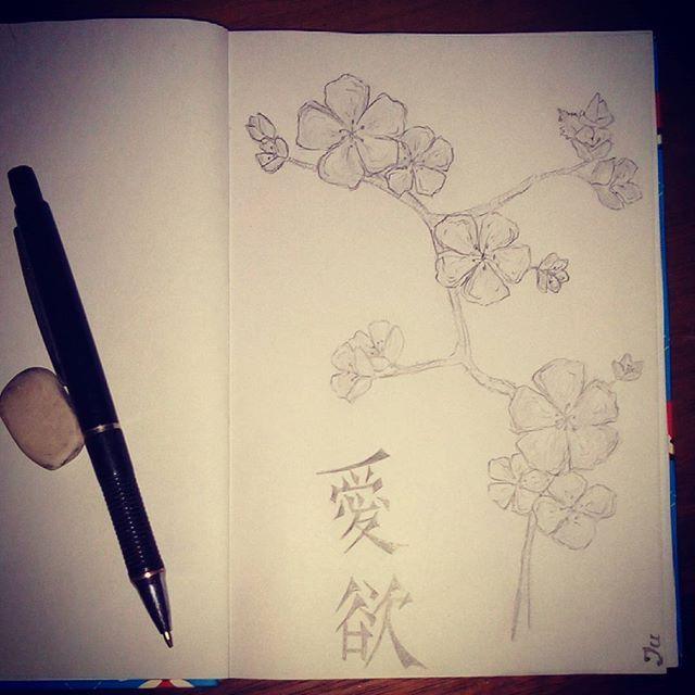 【angelnanaju】さんのInstagramをピンしています。 《Первый рисунок в моём новом блокноте  #рисунок #люблюрисовать #творчество #точтолюблю #сакура #sacura #桜 #創造 #絵 #вкарандаше #私は創造性を愛して#愛 #моетворчество》