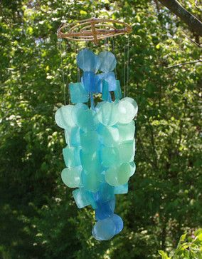 Handcrafted Capiz Shell Wind Chimes tropical outdoor decor