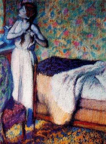 Edgar Degas painting: Woman Combing Her Hair