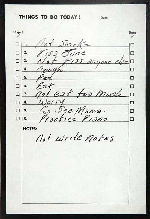 "One of Johnny Cash's ""To Do"" list surfaces."