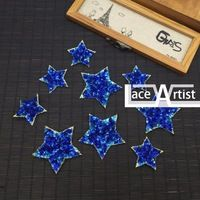 9 pcs blue stars sequins garment accessories T-shirt/dress/skirt/bag/jeans decoration, embroidery applique patches for clothing