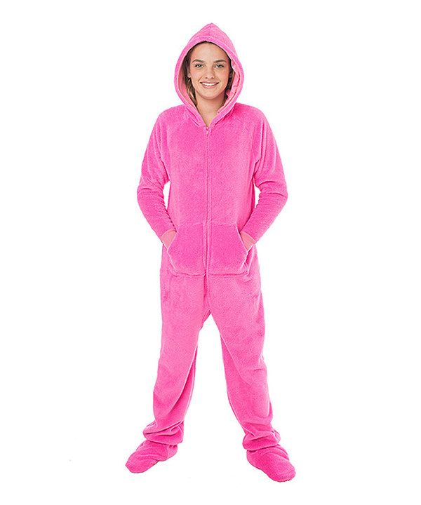 Look at this Pink Hooded Footie Pajamas - Girls on #zulily today!
