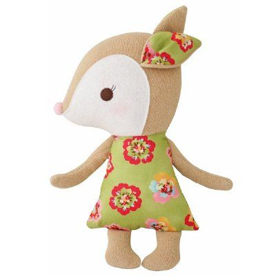 Alimrose Design's darling new soft deers are the newest addition to the Woodland Friends family. Soft and squishy with a pretty dress, adorable face, fun dangly ears and arms that are perfect for chewing on. The perfect size for little hands. Don't miss the coordinating squeaker. Measures 23cm tall.