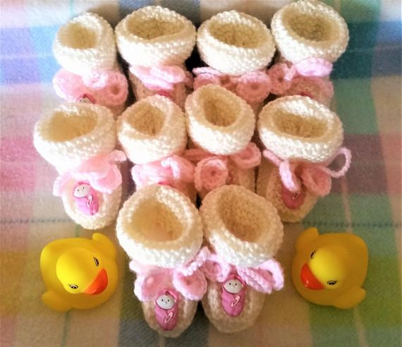 10 Mini pink baby cream knitted booties  knitted ornaments