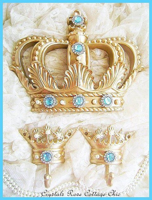 Fleur De Lis Glamorous Gold Bed Crown Set with by sweetlilboutique, $76.00