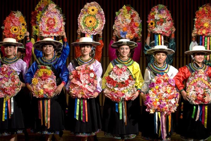 Jacchigua Ecuatorian folkloric ballet performers.  Ecuador is brimming with culture